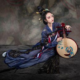 2019 chinesische trachten frauen Frauen Hanfu Chinese Folk Dance Kostüm Traditionelle Bühnenkleidung Für Sänger Festival Outfit Oriental Performance Kleidung DC1809 günstig chinesische trachten frauen