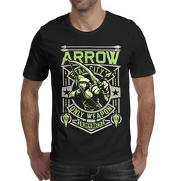 2019 grünes pfeilhemd Green Arrow Pop Star City Nur Waffe Oliver Queen Herren T Shirt schwarz Hemden Custom T Shirts Funny Esign Band Bulk Shirt schwarz günstig grünes pfeilhemd