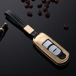 2019 чехол для автомобиля mazda Подарок высокого автомобиля качества алюминиевого сплава держатель ключа крышки случая цепи для Mazda CX-5 CX-9 Mazda Axela 6 Atenza 2/3 кнопки Smart Key дешево чехол для автомобиля mazda
