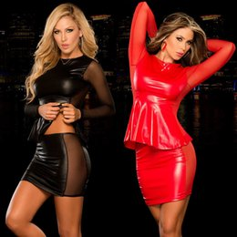 robe de club des femmes en cuir Promotion 2 Pcs Femmes Sexy Dress Set Faux En Cuir Wetlook Slim Club Robes Tops + Mini Robe Costume Sheer Mesh Dress Vêtements Clubwear Nouveau