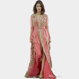 dubai islamic robe Rebajas Vestido rosa Marruecos túnicas Turquía 2019 Nueva ropa de manga larga de alta calidad en dubai túnicas islámicas vestidos de noche 134