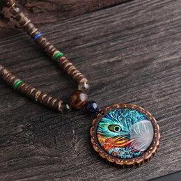 3eca925c1eaaf peacock feather sweaters NZ - Woman Sweater Necklace Wholesale Jewelry  Wooden Pendant Peacock Feathers Pattern Long