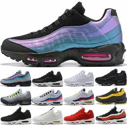 95 entrenadores deportivos online-Nike Air max 95 Diseñador Hombre Mujer 95 Zapatillas SE OG Grape Neon TT Negro Rojo 95s Triple Blanco Zapatillas Deportivas Baratas Tamaño 5.5-12