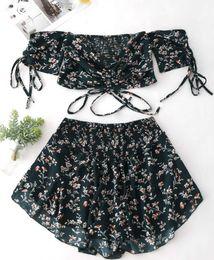 cut off tops Desconto Mulheres Sexy Vestido de Verão Tubo de Impressão Top Lace Off Ombro Pequeno Floral Terno Corte Camisa Bra Mini Apertado Saia Das Senhoras Vestido de Noite Roupas