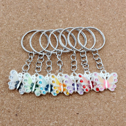 butterfly coins Coupons - MIC 70PCS Mix Color Fashion DIY Material Accessories Set Auger Drip Oil Alloy Butterfly Belt Chains key Ring (003555)