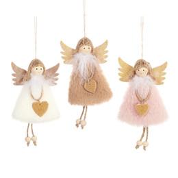 muñecos de peluche de juguete ángeles Rebajas Árbol de Navidad colgante de la Navidad Adornos Ángel muñeca de la felpa juguetes colgantes del niño lindo del regalo de la muñeca creativa de la decoración del hogar artesanía JK1910