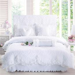 100% coton épaisse dentelle literie ensemble de literie roi reine taille lit ensemble de lit princesse Korean Girls blanc rose jupe ensemble de lit 28 ? partir de fabricateur