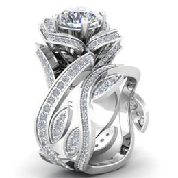 gran anillo de flores de plata Rebajas Modyle 2018 Nueva Moda de Color Plata Gran lujo Rose anillo de la flor para la mujer 7 colores CZ piedra joyería de la boda Dropshipping