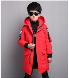 f02c3576a3c Boys Winter Coat 2018 Fur Hooded Kids Down Jackets Big Boys Parka age 5-14  years Thicken Warmly Winter Children Outfit