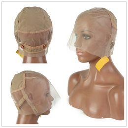 Menschenhaarspitzeperücke weben online-Menschenhaarspitzeperücke Kappe für die Herstellung von Perücken Haar verstellbaren Trägern volle Spitzeperücke Weaving Mesh Damen elastische Haarnetz