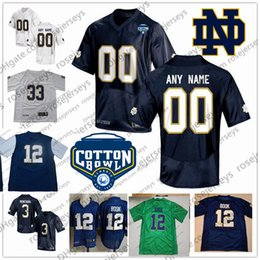 Custom Notre Dame Fighting Irish College Football white navy green Stitched  Any Name Number  3 Montana 12 Book 2018 NCAA Cotton Bowl Jerseys 0b4d12d0d