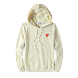 Fashion mens designer hoodie CDG play off red heart white commes des cotton pullover garcons windbreaker jackets winter coats vetements