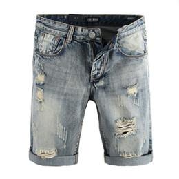 Jeans curtos destruídos on-line-Retro Designer de Moda Verão Homens Jeans Curtos Streetwear Destruído Denim Shorts Homens Jeans Rasgado Hip Hop Shorts Casuais