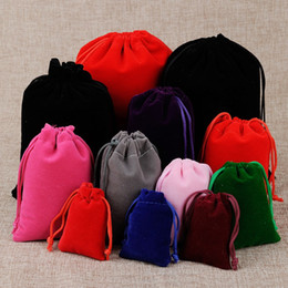 sacs 9x12 Promotion 50Pcs lot Drawstring Velvet Bag 5x7 7x9 9x12 10x15cm Pouches Small size Jewelry Gift Display Packing Bags Can Customized