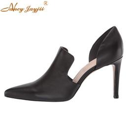 Nancyjayjii из двух частей тонкие высокие каблуки сплошной черный кожаный острым носком туфли на высоком каблуке туфли на высоком каблуке весна осень удобная женская обувь от