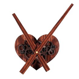 heart gears Promo Codes - Wall Clock 3D Wooden Heart-shaped Cogwheel DIY Clock Table Retro Wood Gear