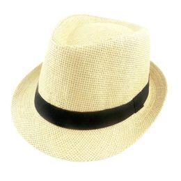 Sombreros de verano sólido Sombrero de paja de la Mujer y hombre Beach Fedoras Casual Panamá Sun las gorras de Jazz 6 colores 60cm desde fabricantes