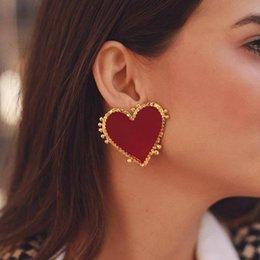 2019 il gancio all'ingrosso dei monili di s Dei monili dell'annata Boemia Grande Cuore Rosso orecchini per le donne Ragazze Grande Dichiarazione Sweet Heart Earrings Fashion Party