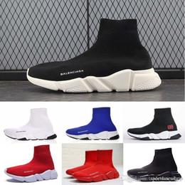 2019 дизайнер мужчины женщины скорость тренер мода люксовый бренд носок обувь черный белый красный блеск плоские мужские тренеры спортивные кроссовки размер 36-45 от