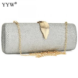 silver rhinestone purse Promo Codes - Resin Rhinestone Long Evening Clutch Bag Trendy Crassbody Bags With Chain Clutches Purse Pink Sliver Women'S Bags Party Wedding