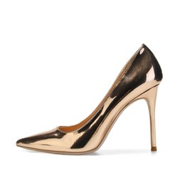 9136e216d84 35-45 Sexy Pumps Women Shoes 10cm 8cm 6cm Rose Gold Pointed Toe High Heeled  Shoes for Women Party Prom Metallic Pointy Toe Pumps Sliver