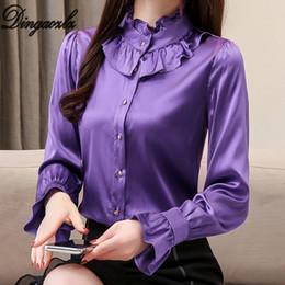 f7b215e29 2019 camisas de seda de la oficina Dingaozlz Primavera Nuevas Mujeres Blusa  Camisa de Seda Del