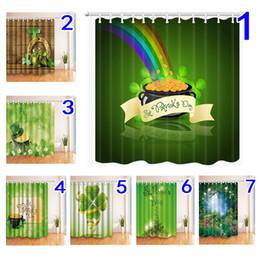 2019 eco amigável espessamento chuveiro cortina Tecido de poliéster de cortina de chuveiro de dia de St. Patrick 180 * 180cm Padrão de dia de St.Patrick cortina de janela de casa banho de decoração