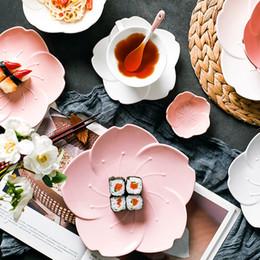 кубок цветения Скидка Кофе Керамическая десертная тарелка Розовый торт Фруктовая тарелка Соус Блюдо Кофейная чашка Тарелка Вишневый цвет кофейная посуда