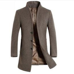 Chaquetas y abrigos de lana de los hombres de invierno casual hombres slim fit negocio chaqueta de abrigo de lana marrón ropa de abrigo de lana masculina desde fabricantes