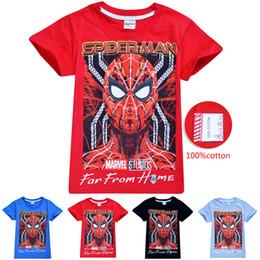 2019 spiderman t-shirt bambini t-shirt bambini spiderman stampati avengers 4 colori 3-10 t ragazze ragazzi 100% cotone magliette per bambini vestiti firmati SS225 spiderman t-shirt bambini economici