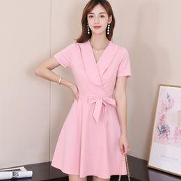 99b293899 2019 moda coreana mujer vestido rosa de verano informal de manga corta con  cordones vestido elegante mujer streetwear vestidos de dama vestidos