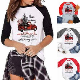 2019 camicia di t di natale del manicotto lungo Camicie di Natale Donne di natale a maniche lunghe T-shirt O-collo Lettera Top Autunno Pullover Deer Elk T-shirt casual Truck Tees camicette Blusas K86