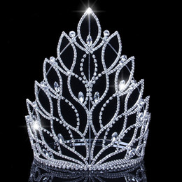 Corone re di nozze online-King Baroque Regina Big Tiaras Corones Top Silver Silver Crystal Strass da sposa Pageant Accessori per capelli Bridali Accessori per capelli Corona JCI108