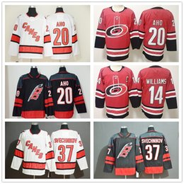 2020 maillots premier 20 Sebastian Aho Carolina Hurricanes 37 Andrei Svechnikov 11 Staal 14 Justin Williams Premier Breakaway Joueur loin Hockey Jersey promotion maillots premier