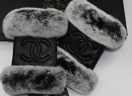 Schaffell handschuhe finger online-Marke Schaffellhandschuhe, Frauen Winter thermische Mode sogar Finger Kaninchenfell Pelzhandschuhe