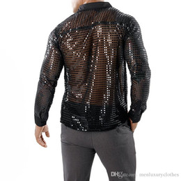 ver a través de la camisa para hombre Rebajas Sexy Evening Club Camisas Ver a través de ropa para hombre Escenario Jugar Camisas Oro Plata Negro Sequined Tops