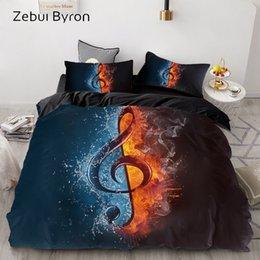 Set biancheria da letto di musica online-Set biancheria da letto 3D personalizzato / Europa / USA Queen / King, set copripiumino Black Music Note, trapunta / coperta Copripiumino