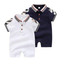71667ebd0 Chinese 2019 New Baby Boys designer Romper Summer Plaid stripe short sleeve  infant jumpsuit fashion lapel