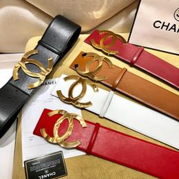 Schwarze weibliche gürtel online-2019 weiblichen berühmten Markengeschäft Gürtelschnalle Luxus schwarzen Gürtel mit großer Goldschnalle weiblichen Gürtel Geschenk