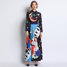 Modelos de polo on-line-Modelos high-end de primavera 2019 projeto grande roupas femininas Estrela impressão de manga comprida POLO colarinho plissado grande saia do balanço