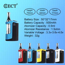 2019 mods de tubulação ecig Original ECT Mico Vape Starter Kit 500mAh Vape Mods 510 Tópico Vape Battery 0,5 ml vaporizador Pen cartuchos de cigarro