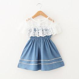 Colección de ropa online-Baby Girl Ropa de diseñador Ropa para niñas Ropa para niños 2019 Estilo de verano Moda Encaje Cuello Cintura Colección Diseñador Tutu Princesa Fiesta