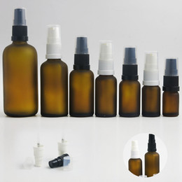 2019 bomba de botella de ámbar 10 x 5ml 10ml 15ml 20ml 30ml 50ml 100ml Aceite esencial Amber Frost Glass Bottle Con la bomba para reactivo líquido Pipeta portátil rebajas bomba de botella de ámbar
