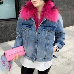 jeans allineati in inverno Sconti bomber da donna in denim con fodera in sherpa di fawn shearling, giacche di jeans con collo in pelliccia e cappotto invernale