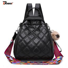 sac à dos brun noir Promotion Casual Lingge sac à dos en cuir femmes Brown noir Couleur sac à bandoulière large sacs à bandoulière sac à dos vintage femme mignon pendentif boule de cheveux