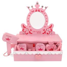 Ko online-Sicherheit Holz Kinder Make-up Spielzeug Simulation Holz Schminktisch Spiegel Prinzessin Kosmetik Set Spielzeug für Kinder Mädchen Geschenk