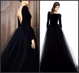 Abiye çarpıcı uzun kollu abiye giyim siyah kadife elbiseler akşam aşınma bateau boyun düşük geri geri bir çizgi tül etek resmi dre nereden