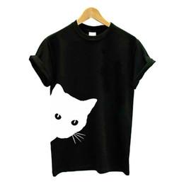 2019 camisa do gato punk Harajuku Preto T Shirt Mulheres Tops Do Punk Dos Desenhos Animados Gato Rosto Carta Impressão Camiseta Femme T-shirt Ocasional Solta Tee O Pescoço Tops desconto camisa do gato punk