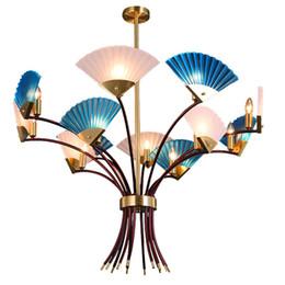 2019 sala de estar candelabros china Candelabro clássico China Levou Ventilador Da Lâmpada Suspensão Da Lâmpada Azul Para Sala de estar Quarto Restaurante Iluminação de Casa H102