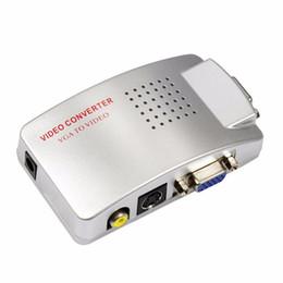 s video tv av Rebajas PC A Adaptador de TV VGA a AV RCA Monitor de TV S-Video Convertidor de señal Adaptador Caja de interruptor PC Portátil al por mayor